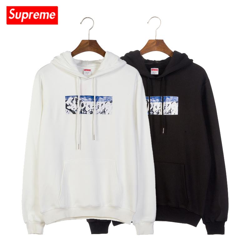 supreme 2 colors white black snow mountain print hoodie